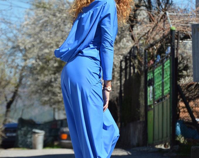 Maxi Oversize jumpsuit, Maxi Hooded Jumpsuit, Blue Women Jumpsuit, Loose Casual Drop Crotch Jumpsuit, Overalls Jumpsuit by SSDfashion