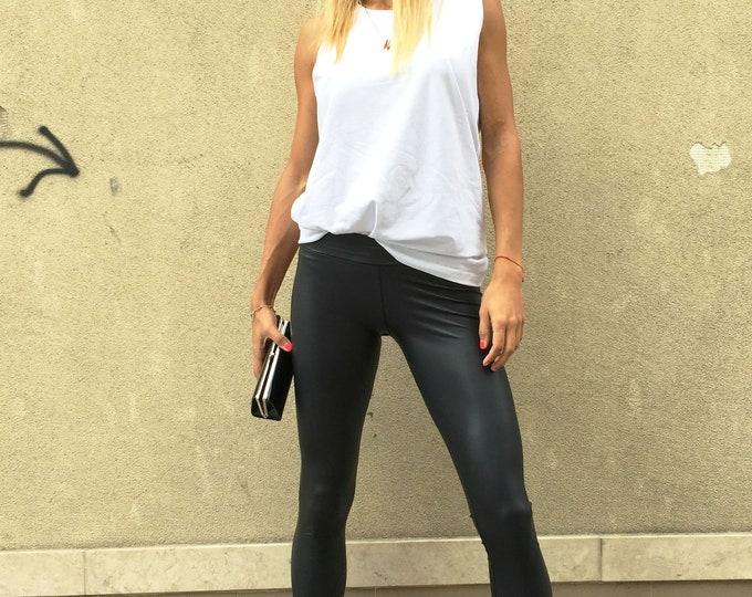 Black Leather Legging, Elegant Long Pants, Yoga Tight-fitting Leggings, Fashion Pants, Women's Leggings by SSDfashion