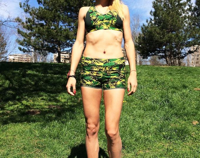 Workout Sport Women Set, Tight-fitting Yoga Leggings Capris, Fitness Bra Top by SSDfashion