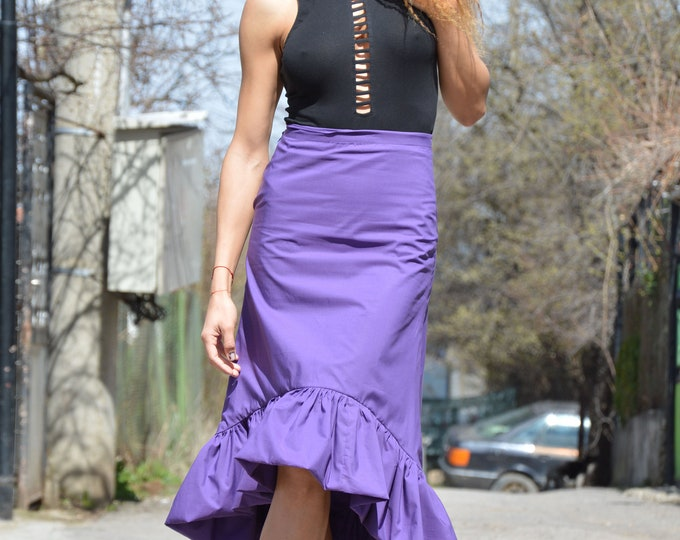 Cotton High Waisted Skirt, Extravagant Skirt, Asymmetric Maxi Skirt, Plus Size Clothing, Purple Skirt,Oversize Long Short Skirt by SSDfasion