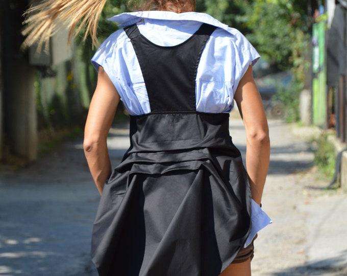 Black Women Vest, Stripes Belt Vest, Maxi Vest, Open Back Top, Black Waistcoat, Elegant Vest, Extravagant Vest, Casual Vest by SSDfashion
