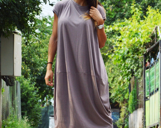 Maxi Summer Dress, Woman Tunic, Beach Cover, Casual Beige Dress, Plus Size Dress, Oversize Tunic, Extravagant Tunic, Party Top by SSDfashion