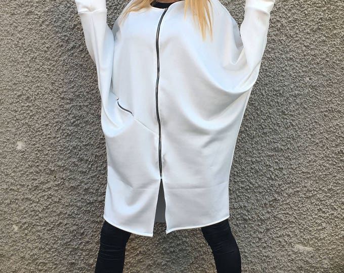 White Neoprene Long Sweatshirt, Extravagant Casual Jacket, Asymmetric Zipper Tunic Dress, Oversize Sleeves Top by SSDfashion