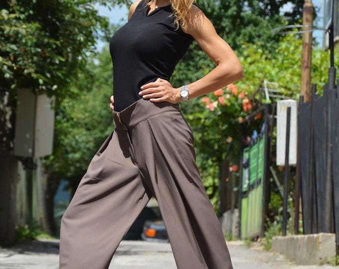 High Waist Brown Pants, Wide Leg Elegant Pants, Drop Crotch Loose Pants, Oversize Skirt Pants, Maxi Casual Pants by SSDfashion