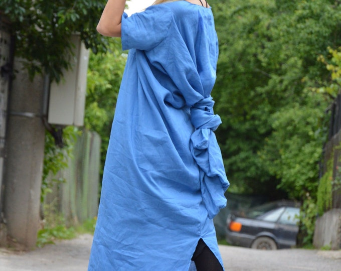 Women Linen Dress, Asymmetrical Dress, Plus Size Party Dress, Sleeveless Dress, Extravagant Short Sleeves Dress by SSDfashion