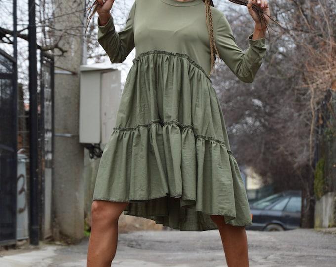 Military Oversize Formal Tunic, Asymmetric Maxi Dress, Long Sleeve Casual Tunic, Maxi Casual Top by SSDfashion