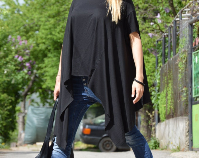 Cotton Black Tunic Top, Summer dress for woman, Asymmetric Blouse, Oversize Tunic, Loose Shirt,Loose Tunic, Casual Top by SSDfashion