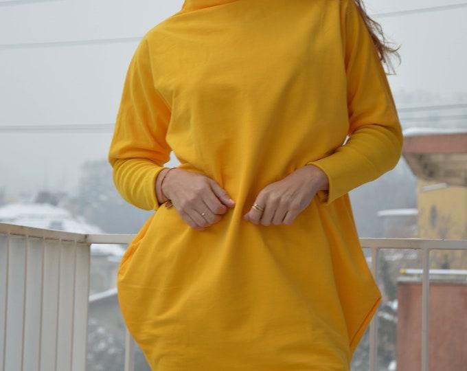 Maxi Yellow Blouse, Cotton Dress, Long Summer Dress, Loose Maxi Dress, Abaya Dress, Asymmetrical Sweater, Elegant Tunic by SSDfashion