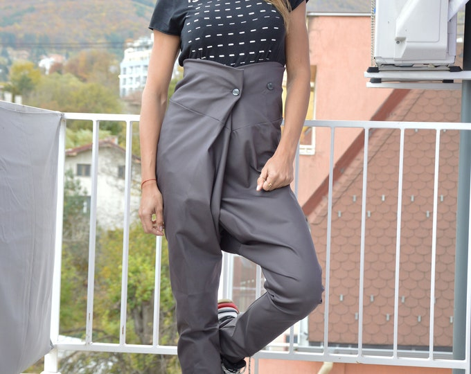 Loose High Waist Cotton Pants, Extravagant Trousers, Formal Office Pants, Drop Crotch Harem Pants, Loose Casual Pants by SSDfashion