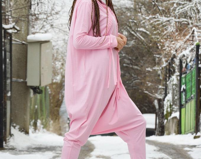 Woman Jumpsuit, Summer Pink Jumpsuit, One piece Romper, Loose Casual Jumpsuit, Drop Crotch Harem Jumpsuit by SSDfashion