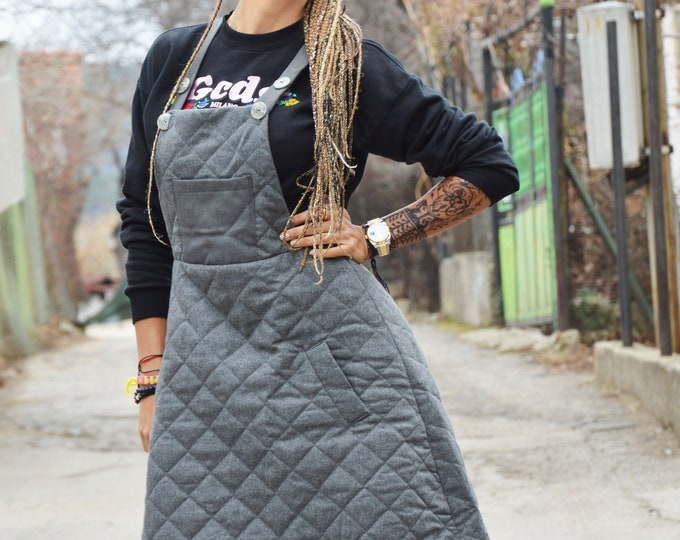 Wool Pinafore Women Dress, Sleeveless Dress, Overall Dress, Extravagant Dress, Pockets Pinafore, Mod Dress  by SSDfashion