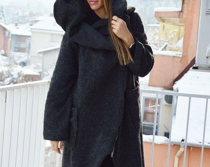 Women Wool Coat, Asymmetrical Coat, Cashmere Coat, Trench Coat, Autumn Winter coat, Oversize Coat,Winter Dark Gray Zipper Coat by SSDfashion