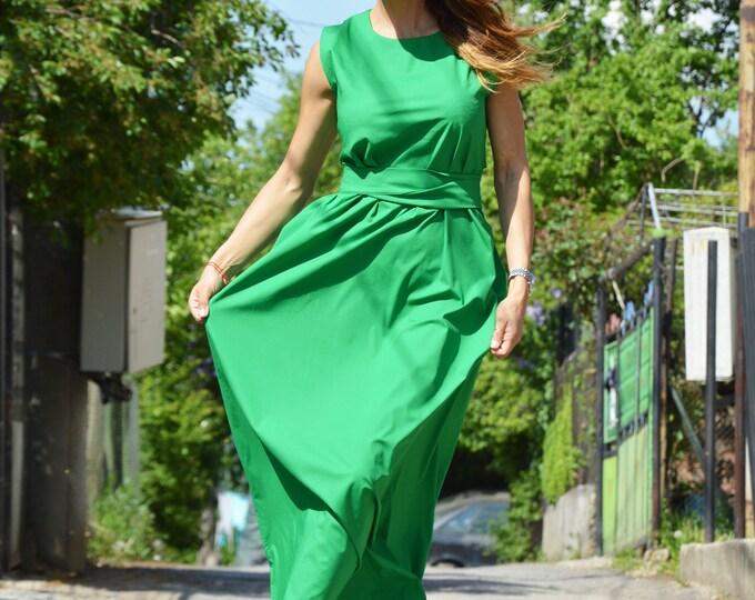 Green Cotton Maxi Dress, Sleeveless Zipper Dress, Plus Size Dress, Loose Long Dress, Summer Kaftan by SSDfashion