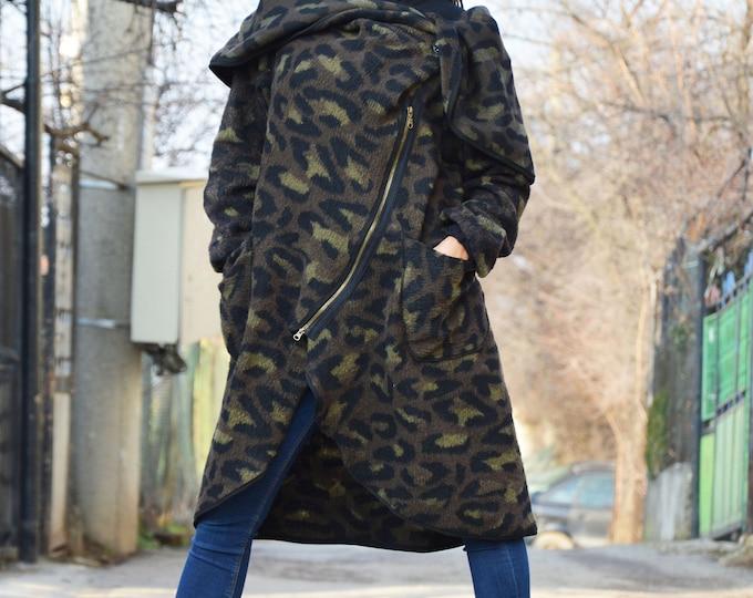 Maxi Military Warm Coat, Plus Size Collar Coat, Double  Zipper Wool Coat, Warm Coat, Extravagant Long Sleeves Coat by SSDfashion