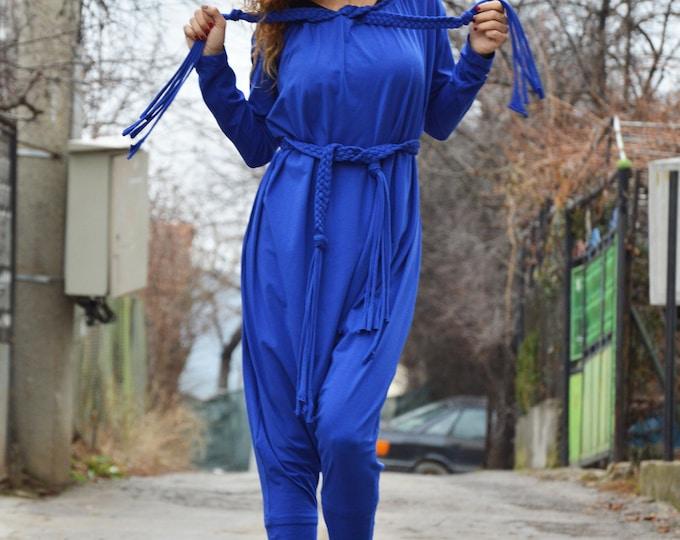 Women Jumpsuit, Blue Cotton Jumpsuit, Drop Crotch jumpsuit with belt, Union Suit, Extravagant Loose Casual Jumpsuit,Maxi Pants by SSDfashion