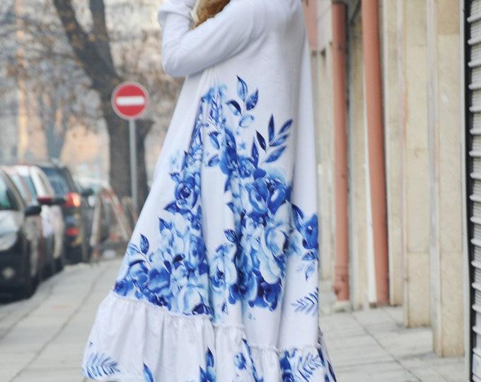 Dress for the New Year, White Dress, Flowers Long Maxi, Plus Size Dress, Cotton Abaya Dress, Long Kaftan, Women Dress by SSDfashion