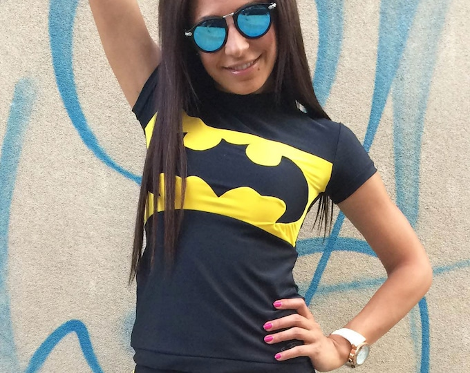 Women Batman T-shirt, Batman T-shirt, Design Yoga Top, Ultra Soft Tight Tee, Casual Sport Wear, Sport Top by SSDfashion