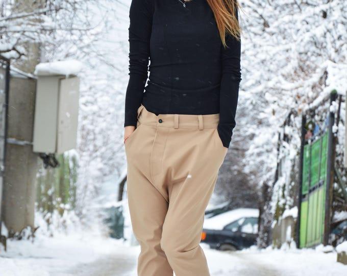 Loose Drop Crotch Beige Pants, Extravagant Casual Trousers, Maxi Pokets Harem Pants, Plus Size Pants by SSDfashion