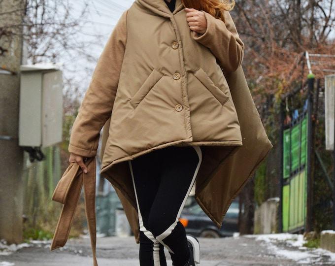 Beige Winter High Collar Women Coat, Asymmetric Beige Cashmere Coat, Long Sleeves Warm Jacket by SSDfashion
