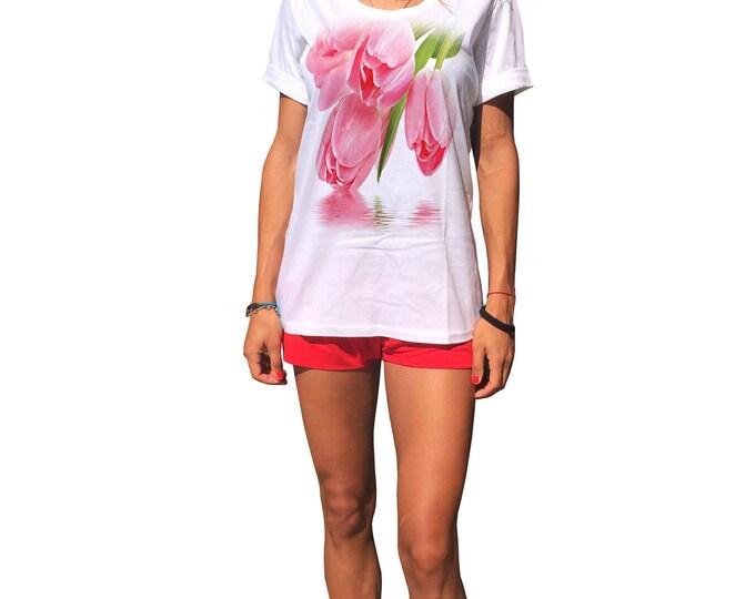 """Women's Cotton T-Shirts """" Tulip """", White Print Tshirt, Oversize Casual Long Top, Extravagant Tshirt, Fashion Tshirt,Summer Top by SSDfashion"""