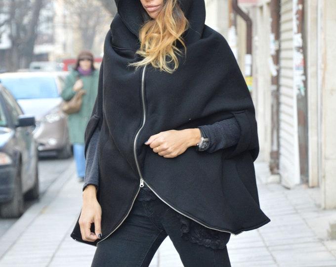 Cotton Zipper Blazer, Hooded Sweatshirt, Warm Comfortable Blouse, Asymmetric Black Sweatshirt, Modern Zipper Blazer by SSDfashion