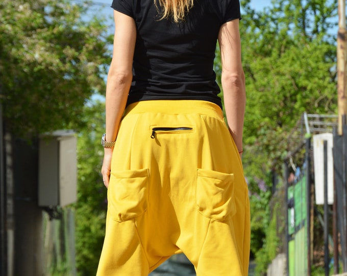 Extravagant Pants, Women Yellow Trousers, Pants Women, Cotton Harem Pants for Women, Urban Pants, Drop Crotch Pants by SSDfashion