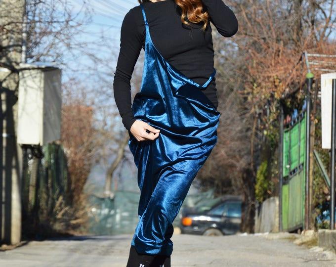 Royal Blue Velvet Jumpsuit, Extravagant Back Drop Crotch Pants,  Loose Sexy Backless Jumpsuit by SSDfashion