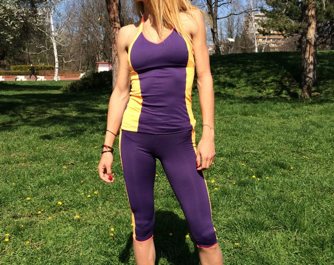 Performance Women's Gym Set, Stretch Leggings With Top, Workout Combo Set, Yoga Capris With Bra by SSDfashion