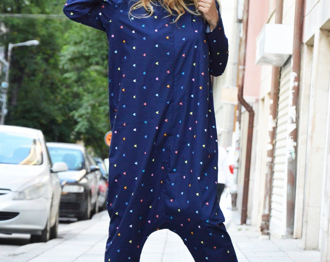 Cotton Maxi Heart Jumpsuit, Overall Hooded Jumpsuit, Woman Plus Size Clothing, Drop Crotch Pants Suit by SSDfashion