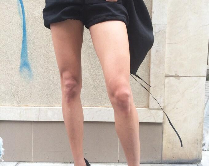 Black Linen Shorts, Women Pants, Maxi Wide Shorts, Extravagant Shorts, Summer Pants, Loose Short Pants, Oversize Trousers by SSDfashion