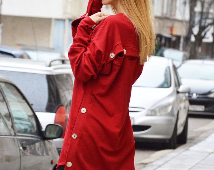 Extravagant Dress, Loose Casual Tunic, Asymmetric Red Maxi Top, Long And Short Sleeves Oversize Tunic, Evening Dress by SSDfashion