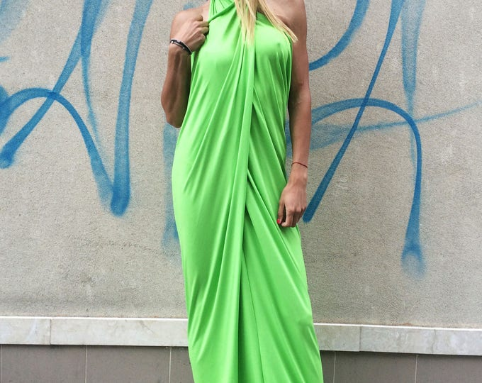 Maxi Kaftan Dress, Open Back Dress, Extravagant Green Long Abaya, Sleeveless Summer Dress, Viscose Dress by SSDfashion