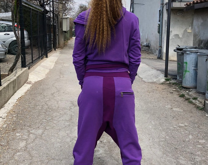 Cotton Purple Set, Maxi Zipper Set, Harem Pants Set, Loose Hooded Sweatshirt, Extravagant Pants, Autumn Trousers by SSDfashion