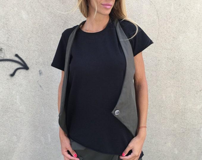 Military Sleeveless Vest, Asymmetric Vest, Maxi Top Vest, Plus Size Clothing, Extravagant Vest, Office Vest, Summer Vest by SSDfashion