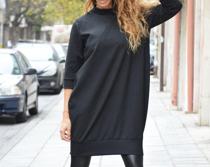 Black Midi Extravagant Tunic, Casual Fall Winter Tunic, Women Loose Sexy Tunic by SSDfashion