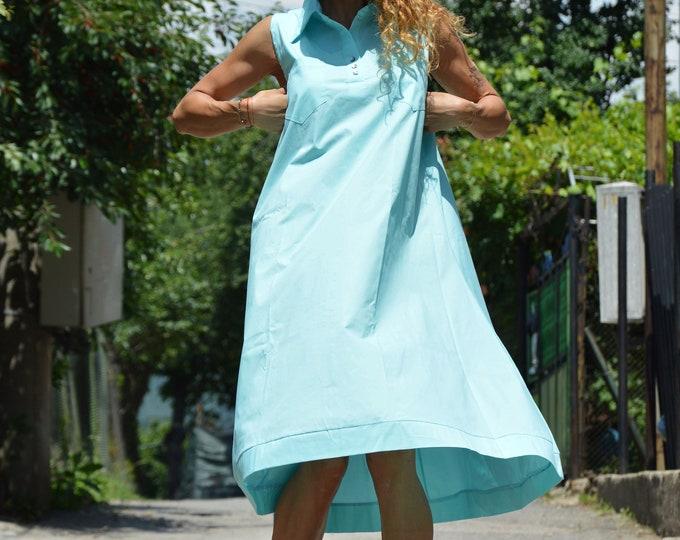 Cotton Summer Maxi Dress, Maxi Turquoise Kaftan, Sleeveless Dress, Plus Size Dress, Women Casual Dress, Midi Dress by SSDfashion
