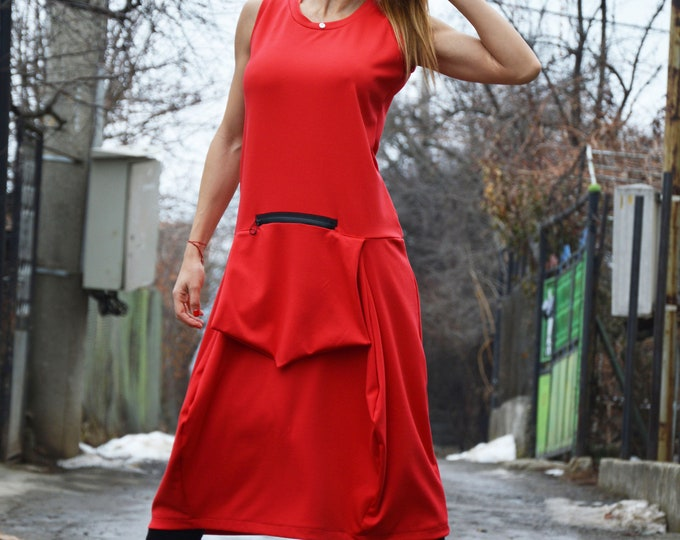 Midi Women Dress, Red Women Dress, Plus Size Sleeveless Dress, Fitted Dress, Day Dress, Tunic with Front Pocket by SSDfashion