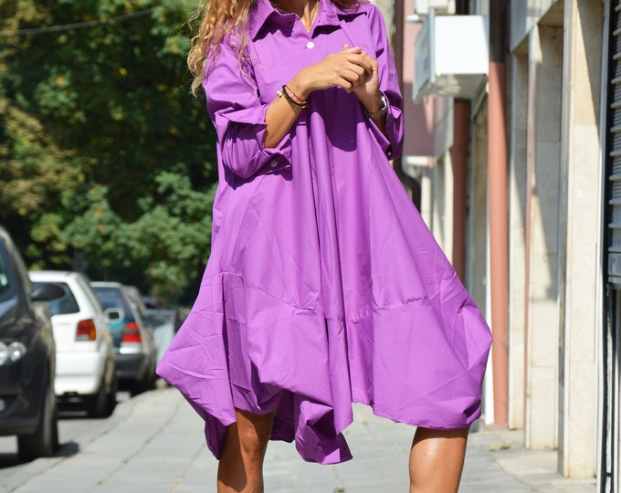 Summer Purple Shirt, Maxi Fall Shirt, Asymmetric Long Shirt, Women Buttoned Shirt, Loose Drape Shirt, Long Sleeves Shirt by SSDfashion