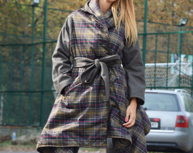 Military Green Shepherd Plaid Coat with Side Pockets, Winter Asymmetric Women Coat, Loose Waterproof Jacket by SSDfashion