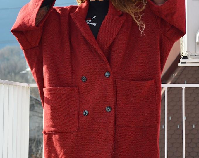 Winter Clothing Coat, Red Boucle Women Coat, Asymmetrical Wool Coat, Casual Large Pocket Coat, Trendy Coat, Boucle Coat by SSDfashion