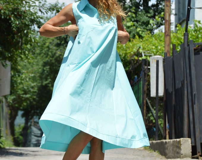 Cotton Summer Maxi Dress, Maxi Turquoise Kaftan, Sleeveless Dress, Plus Size Dress, Women Casual Dress, Midi Dress by SSDfashion