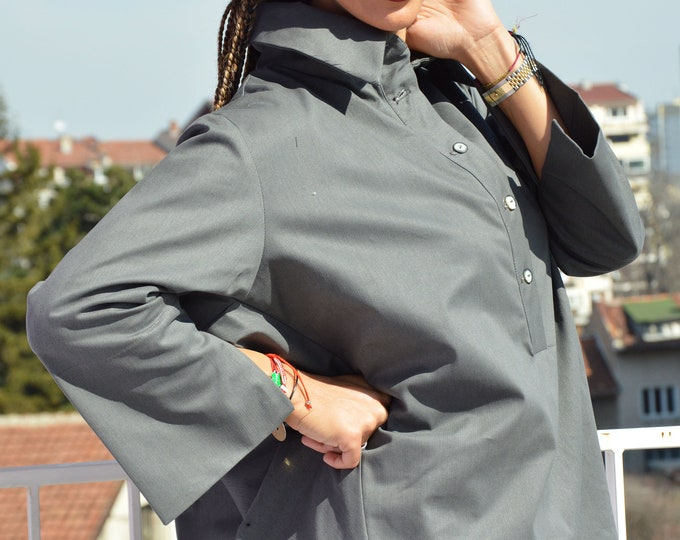 Plated Gray Cotton Shirt, Asymmetrical Shirt, Buttoned Loose Shirt, Spring Tunic Top, Convertible Shirt by SSDfashion