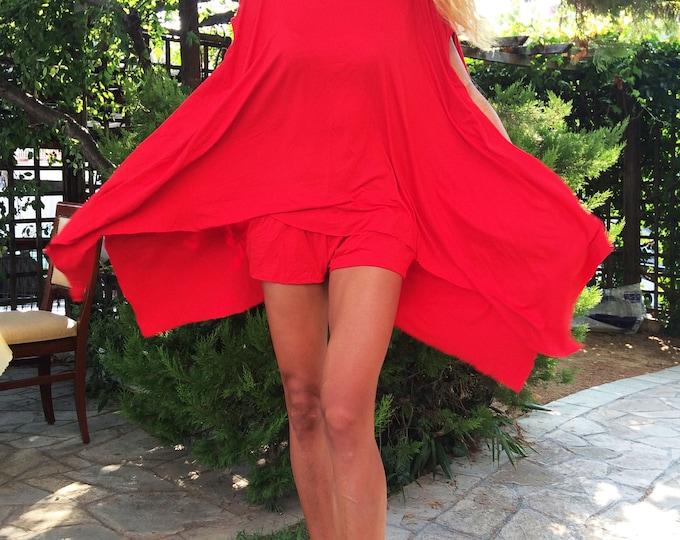 Asymmetrical Red Set, Women Tunic Top, Summer Tunic, Everyday Tunic Short, Viscose Elegant Set, Daywear Loose Pants by SSDfashion
