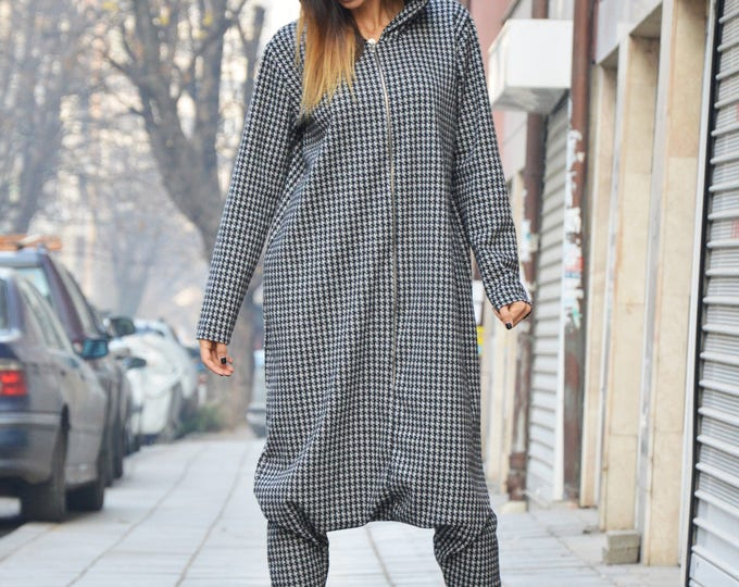 Women Loose Shepherd's Plaid Jumpsuit, Hooded Plus Size Overall, Drop Crotch Zipper Jumpsuit, Low Crotch Pants by SSDfashion