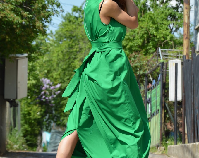 Green Cotton Maxi Dress, Sleeveless Zipper Dress, Plus Size Dress, Loose Long Dress, Summer Kaftan by SSDfashion