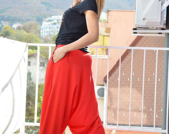 Casual Drop Crotch Pants, Loose Red Harem Pants, Extravagant Oversize Everyday Trousers, Plus Size Pants by SSDfashion