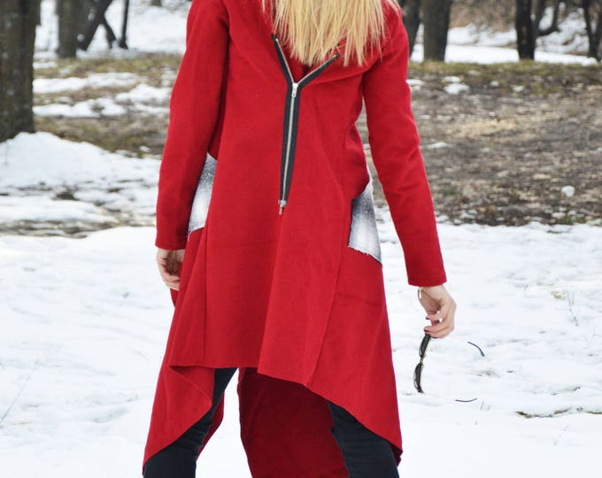 Dress for the New Year, Winter Plus Size Coat with Long Sleeves Pocket, Elegant Handmade Stylish Coat, Asymmetric Zipper Coat by SSDfashion