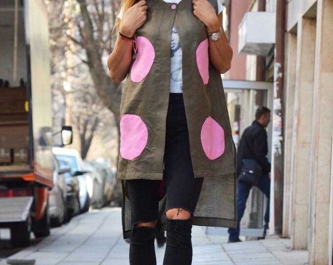 Elegants Women's Linen Long Vest, Plus Size Sleeveless Vest, Extravagant Asymmetric Vest, Loose Vest by SSDfashion