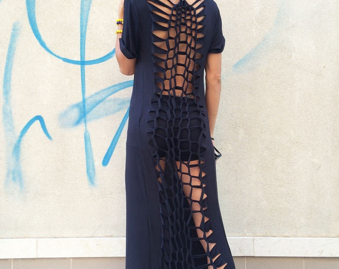Midi Dress, Cocktail Dress, Women Cotton Dress, Long Loose Kaftan, Prom Dress, Black Extravagant Tunic, Sport Dresses by SSDfashion