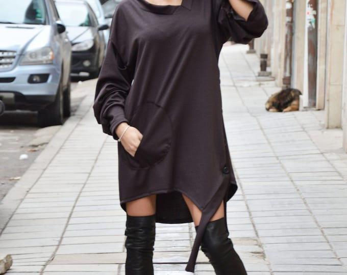 Plus Size Loose Tunic, Asymmetric Brown Dress, Maxi Tunic Top, Extravagant Long Sleeves, Fashion Style by SSDfashion